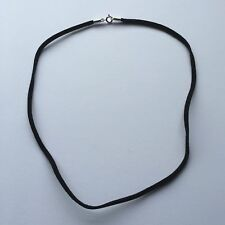 Black Leather Necklace Thong with Sterling Silver Clasp