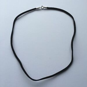 Black Leather Necklace Thong with Sterling Silver Clasp -20 Inch/ 50 cm