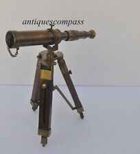 Antique Nautical Vintage Decorative Solid Brass Telescope with Wooden Tripod NEW