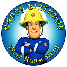 "FIREMAN SAM PARTY - 7.5"" PERSONALISED ROUND EDIBLE ICING CAKE TOPPER"