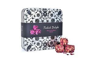250g Rose Petals Turkish Delight Tin Box Gift Real Roses Christmas New year gift
