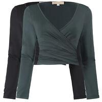 2018 Ladies V-Neck Low Cut Blouse Wrap Cross wrap Top Long Sleeve Shirt Tee Tops