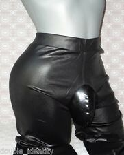 "Crossdress Black High Waist Faux Leather Leggings Sissy Pouch Panty 32"" - 40"""