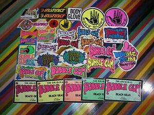 1 vtg 1980s Asstd. surf sticker - Bubble Gum Body Glove Instinct