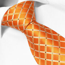 CRAVATE Luxe Homme Marque Française SOIE Orange Carreaux - French Brand Silk Tie