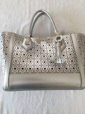 Steve Madden White 2 in 1 B Murphee Perforated  Tote Handbag Satchel w/Charm NEW
