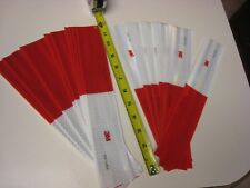 """WHITE RED Reflective   Conspicuity Tape 20 pc Strips 2""""-12L"""