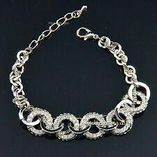 Fashion Silver Round Charm Rhodium Plated Swarovski Crystal Chain Bracelet