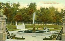 Peoria,Il. The Fountain in Sunken Gardens at Glen Oak Park 1911