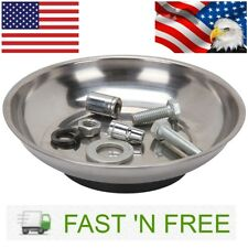 Magnetic Parts Holder Tray Silver Bolts Organizer Round Bowl Garage Home Car