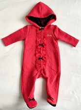 Baby Guess Infant Footed Romper Foodie Red Bodysuit with Black Lace Ribbons 3-6M