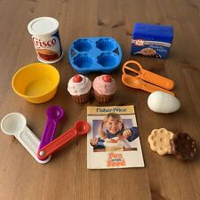 Vintage Fisher Price Baking Fun With Food Kitchen Set COMPLETE Cupcakes Cookies