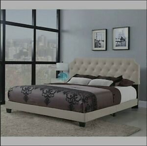 Belle Isle Furniture Regal Tufted Bed w/USB Power Connection Beige - Size Full