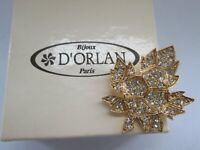 Vintage Signed D'Orlan Sparkly Glass Gold Tone Leaf Brooch Pin