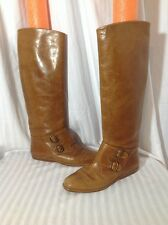 JOAN DAVID COUTURE ITALY Tall Cognac Leather Knee High Equestrian Style Boots