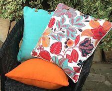 Cushion Covers Set 3 Hibiscus Red, Pale Aqua Blue, Nectarine Pillow Case Throw