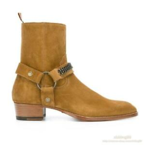 Cowboy Mens Suede Leather 100% Ankle Boots Pull On Chealsea Shoes Riding Fashion