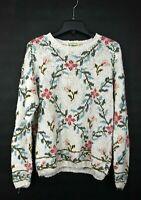 Vintage LL Bean Women White Floral Front & Back Linen Blend Knit Sweater M