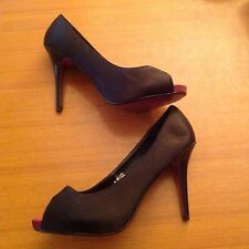 Black Sz 10 44 Satin Peep Toe Very High Stiletto Womens Shoes