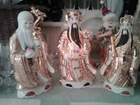 Vintage 3 Wise Men Chinese Porcelain Heavy with Gold Figurines ~ Very collectibl