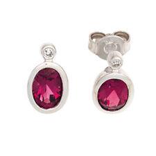 Ohrstecker oval 585 Gold Weißgold 2 Turmaline rosa pink 2 Diamanten Ohrringe