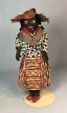 "Antique Cloth Hand Made Black Island Doll Dominican Republic 12"""
