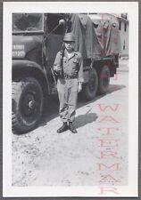 Vintage Photo Army Man w/ Military Truck & Rifle Gun 710082