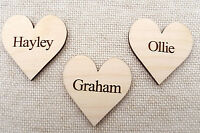 Wooden Personalised Hearts for Family Tree Wedding Guestbook 5cm Hearts engraved