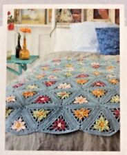 COLOURFUL FLORAL TRIANGLES AFGHAN/BLANKET 110cm x 144cm CROCHET PATTERN