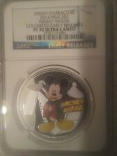 """2014 NIUE $2 Disney Mickey Mouse Colorized PF70 Ultra Cameo """"New Releases"""""""