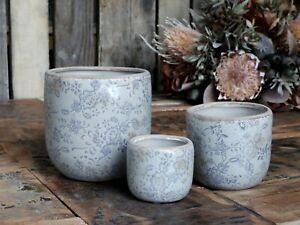 Blue & White Plant Pot Floral Design Crackle Glaze Aged Ceramic Rustic Planters