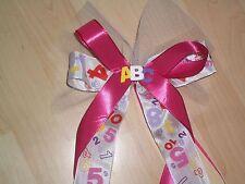 Wunderschöne rosa Schleife Schultüte Zuckertüte Geschenk Zahlen Buchstaben Tüll