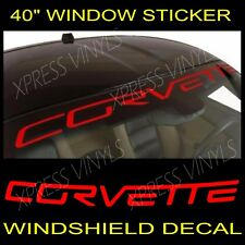 "Chevy Corvette Windshield Vinyl Decal Sticker Custom 40"" Vehicle Logo RED"