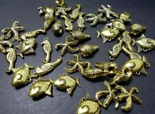 240pcs Acrylic Shell Sea Horse Starfish Fish Beads TIBETAN ANTIQUE GOLD M05