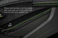 GREEN Stitch 2x Porta BRACCIOLO PELLE COPERTURA Adatta per VW Polo MK8 09-15 3 PORTE