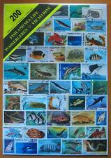 200 DIFFERENT THEMATIC USED MIXED STAMPS - FISH & SEA LIFE