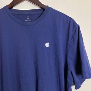 Apple Store Employee Shirt Blue Navy Logo Short Sleeve Tee Size Large