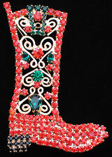 """CHRISTMAS HORSE RIDING BULL RIDING WESTERN COWBOY COWGIRL BOOT PIN BROOCH 2 3/4"""""""