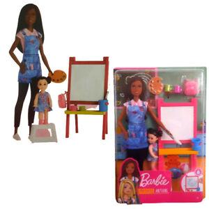 Mattel Barbie Puppe Kunstlehrerin brünett Spielset inkl. Zubehör und Babypuppe