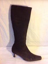 Hobbs Dark Brown Knee High Suede Boots Size 39.5