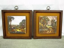 "VINTAGE WOOD FRAME PICTURE TILE 10"" FARM SETTER ANIMALS BRIDGE BOY SHEEP WOMAN"