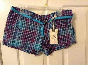 New Unionbay junior 11 cotton spandex vintage indigo multi color print shorts
