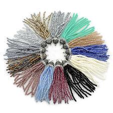 Crystal 2x3mm Rondelle Beads Tassel Trim Applique Jewelry Design Pendant 8CM 1PC