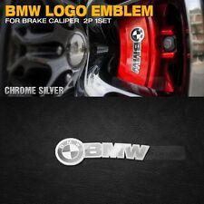 BMW Brake Caliper Logo Emblem Glassy Silver Chrome 2p for All Car Vehicle