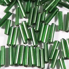 Perles de Rocailles Tubes en verre Trou argenté 9x2mm Vert 20g