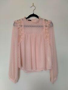 ZARA Pink Dobby Spot Romantic Blouse Sz S EUC