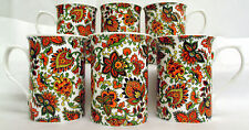 Paisley Mugs Set of 6 Fine Bone China Orange Paisley Mugs Hand Decorated in UK