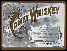 "TIN-UPS TIN SIGN ""Comet Whiskey"" Bourbon Alcohol Bar Man Cave Vintage Ad"