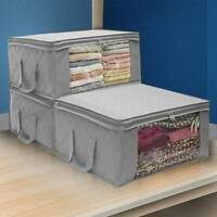 3PCS Foldable Storage Bag Fabric Folding Zip Square Clothes Closet Organizer