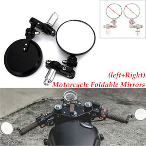 """Pair Universal Round 7/8"""" Handle Bar End Motorcycle Rearview Mirrors Accessories"""